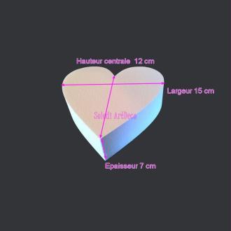 Petit Socle plat Coeur 2D en polystyrène blanc, Largeur 15cm x Epais. 7cm, 28 kg/ m3, pour ce