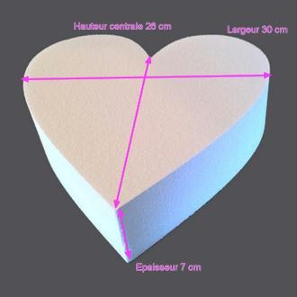 Grand Socle plat Coeur 2D en polystyrène blanc, Largeur 30cm x Epais. 7cm, 28 kg/ m3, pour ce