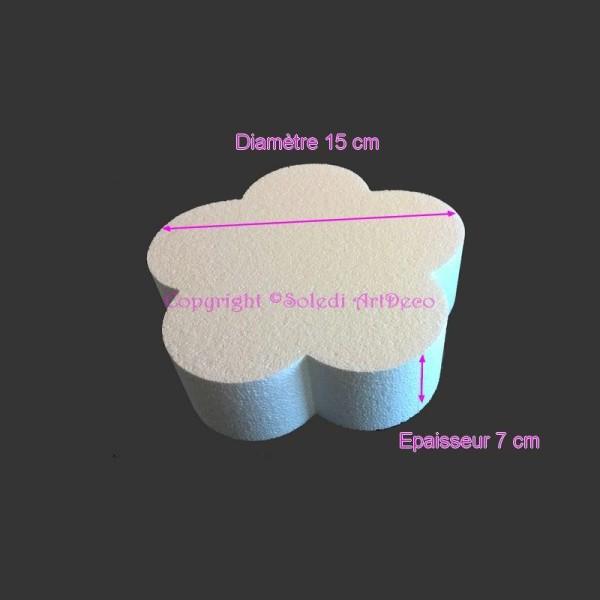 Petit Socle plat Fleur 2D en polystyrène blanc, Diamètre 15cm x Epais. 7cm, 28 kg/ m3, - Photo n°1