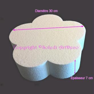 Socle plat Fleur 2D en polystyrène blanc, Diamètre 30cm x Epais. 7cm, 28 kg/ m3, Suppo