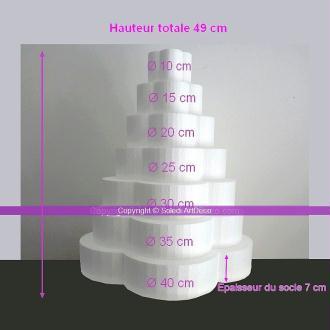 Pièce montée Fleur en polystyrène plein, Hauteur 49 cm, Support 7 étages