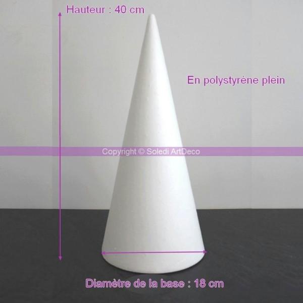 Cone en polystyrène Plein, Hauteur 40cm, Diamètre de base 18cm, Support Styro haute de - Photo n°1
