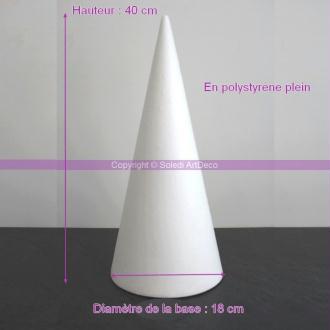 Cone en polystyrène Plein, Hauteur 40cm, Diamètre de base 18cm, Support Styro haute de