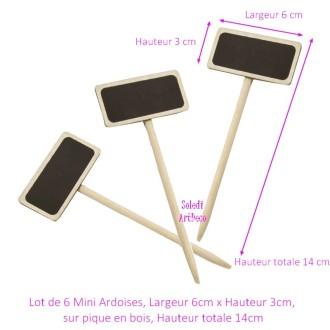Lot de 6 Minis Ardoises Largeur 6cm x Hauteur 3cm, sur pique en bois naturel, Hauteur totale 14cm, P