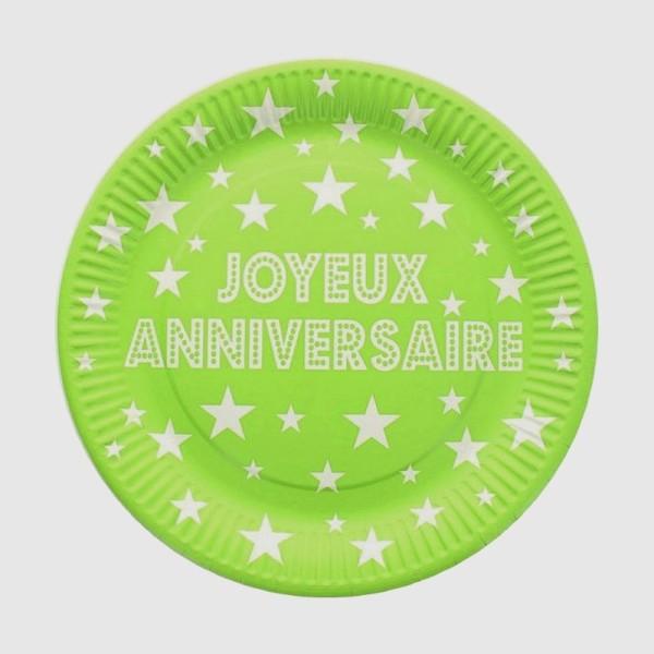 Lot de 10 Assiettes rondes en Carton Vert clair avec Ecriture Joyeux Anniversaire et étoiles blanche - Photo n°1