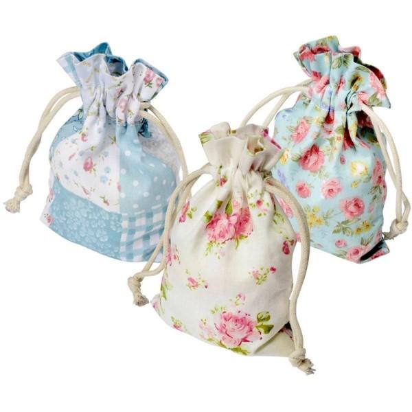 Lot de 6 Pochons en Coton imprimé Floral, Petit Sachet Vintage avec cordon de serrage largeur 10cm x - Photo n°1
