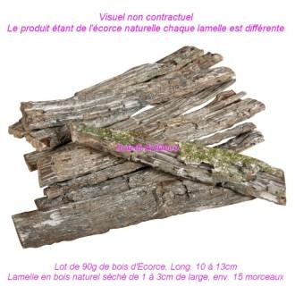 Lot de 90g de bois d'Ecorce, Long. 10 à 13cm, Lamelle en bois naturel séch&eacute
