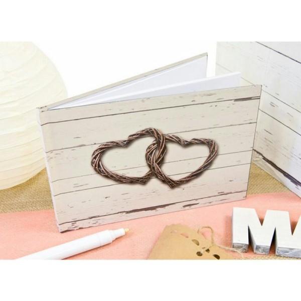 Livre D Or Mariage Champetre Couverture Imprimee Bois Vieilli Et 2 Coeurs Rotin Entrelaces 21 5x15
