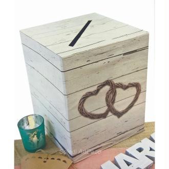 Urne Carrée en carton Mariage Champêtre,  Carton rigide Imprimé Bois vieilli et