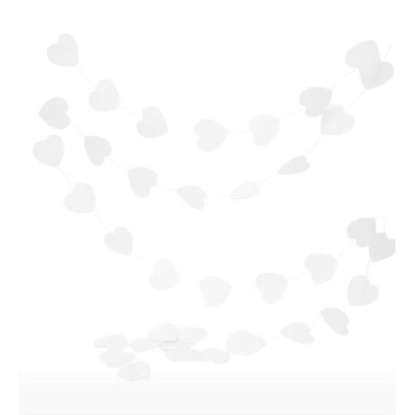 Guirlande de petits Coeurs de 6cm, en Papier blanc, long. totale 4m, pour baby Shower et mariage rom - Photo n°1