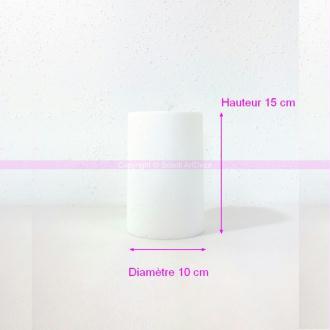 Cylindre en polystyrène blanc Haut. 15cm x Diam. 10cm, Présentoir Styro densité