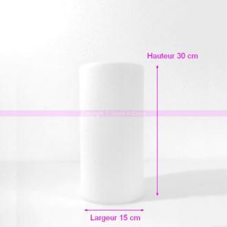 Cylindre en polystyrène blanc Haut. 30cm x Diam. 15cm, Présentoir Styro densité