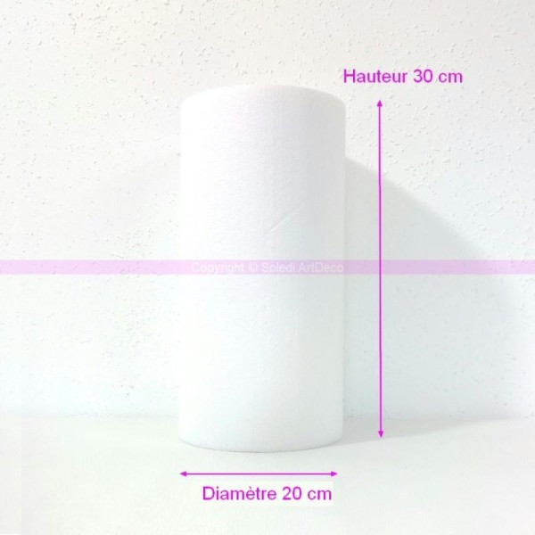 Cylindre en polystyrène blanc Haut. 30cm x Diam. 20cm, Présentoir Styro densité - Photo n°1