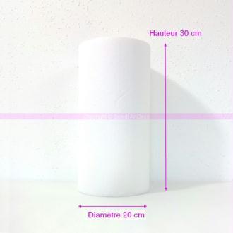 Cylindre en polystyrène blanc Haut. 30cm x Diam. 20cm, Présentoir Styro densité