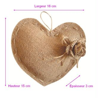Coussin Coeur Porte Alliances, en Toile de Jute et  Rose, 16x15cm, Thème Mariage romantique c