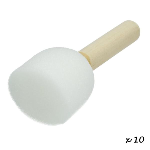 Lot de 10 Pinceaux embout mousse, diam. 4 cm, pour la décoration au pochoir - Photo n°2