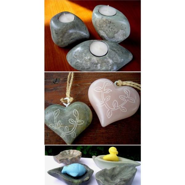 Stéatite, Pierre tendre de couleurs assortis, 1,5 kg, pierre à savon - Photo n°3