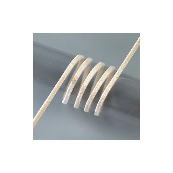 Cordon d'alcantara, 1 mètre de fausse suédine effet peau de pêche, largeur - Photo n°1