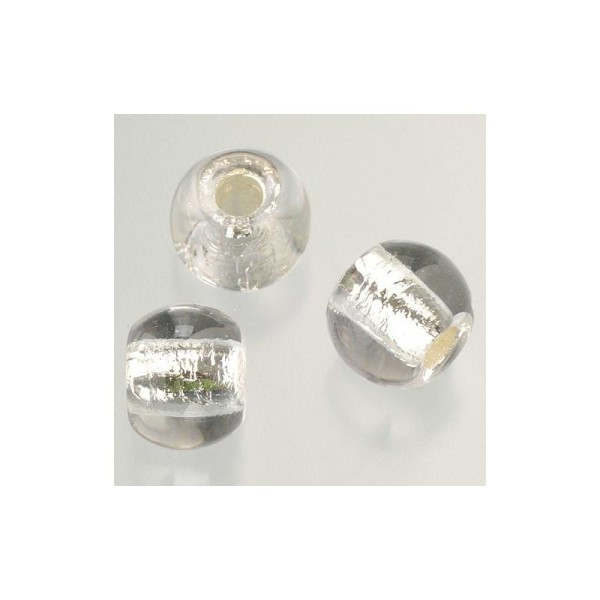 Perle en verre ø 12 mm, Grande perforation, 5 pièces - Photo n°1