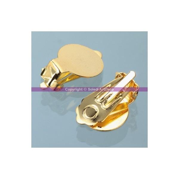 Clip boucle d'oreilles doré, avec platine, 13 mm, 1 paire - Photo n°1