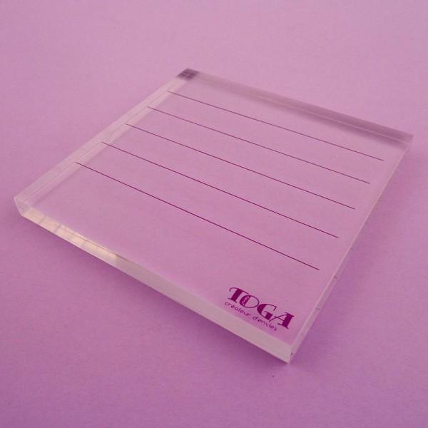 Bloc acrylique pour tampons transparents 10 x 10 cm - Photo n°2