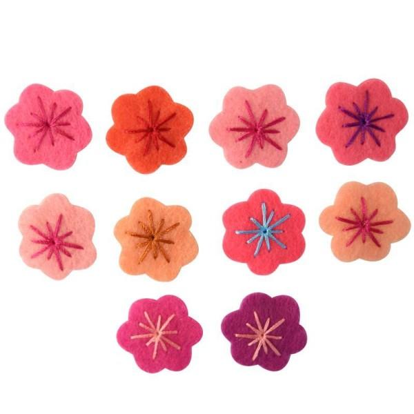 Petite fleur brodée en feutrine Adhésif 2 cm rose x10 - Photo n°1
