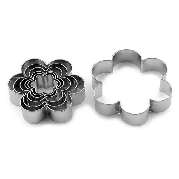 Lot de 7 Emporte-pièces en inox, Fleurs, 2,5 à 9 cm, découpe fleuri - Photo n°1