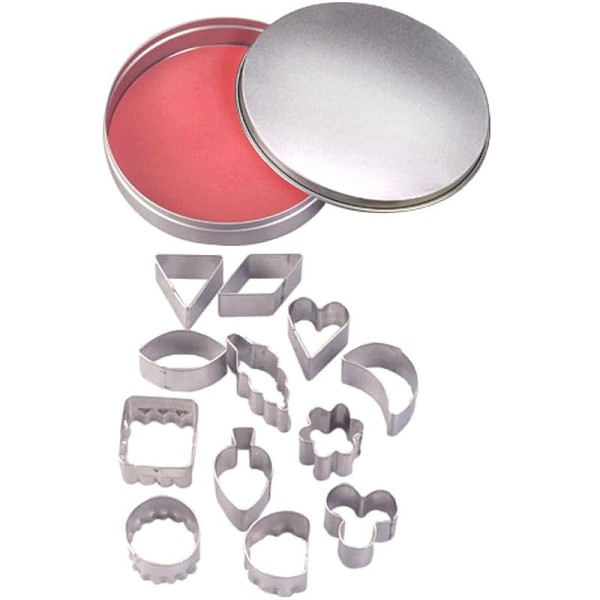 Emporte-pièces en inox, 12 Formes géométriques, coeur, feuille, de 2,2 à 3,2 cm - Photo n°1
