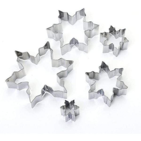 Lot de 5 Emporte-pièces en inox, Flocons de neige, 2,5 à 10,5 cm, découpe hivernale - Photo n°3