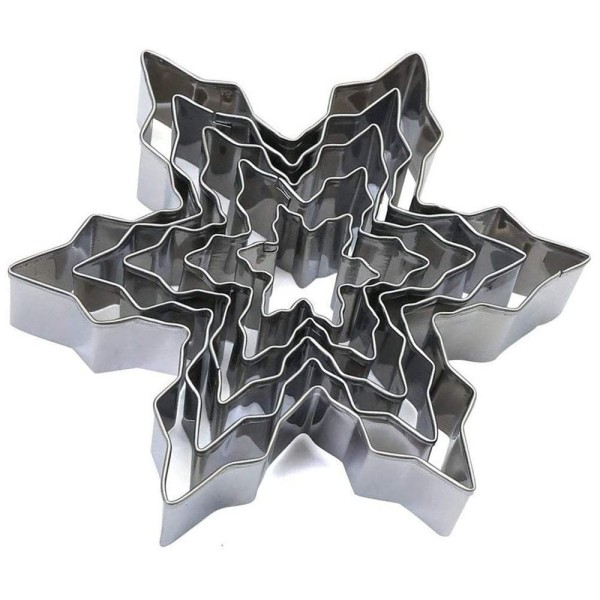 Lot de 5 Emporte-pièces en inox, Flocons de neige, 2,5 à 10,5 cm, découpe hivernale - Photo n°1