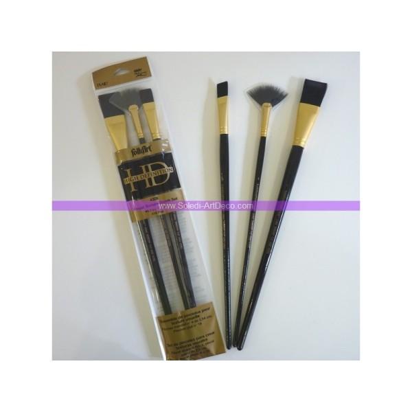 Lot de 3 pinceaux HD pour des effets de texture: éventail n°4 + 2 pinceaux plats - Photo n°1