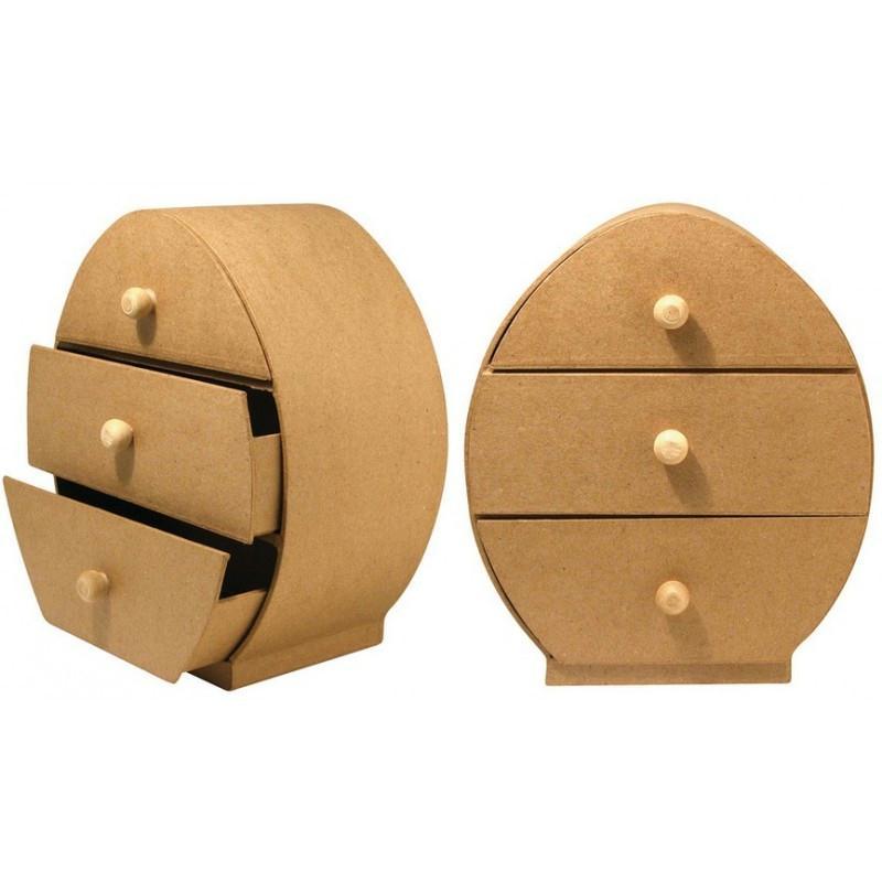 Commode en papier m ch ovale avec 3 tiroirs 22 5 x 19 5 for Meuble a tiroirs