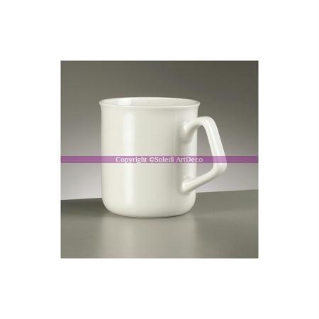 Tasse en porcelaine blanche, Anse carrée, haut 9,1 cm - Efco