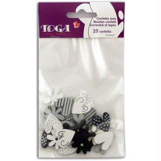 Miniatures en bois Confettis Coeurs et fleurs noir et blanc 2 cm - 25 pièces