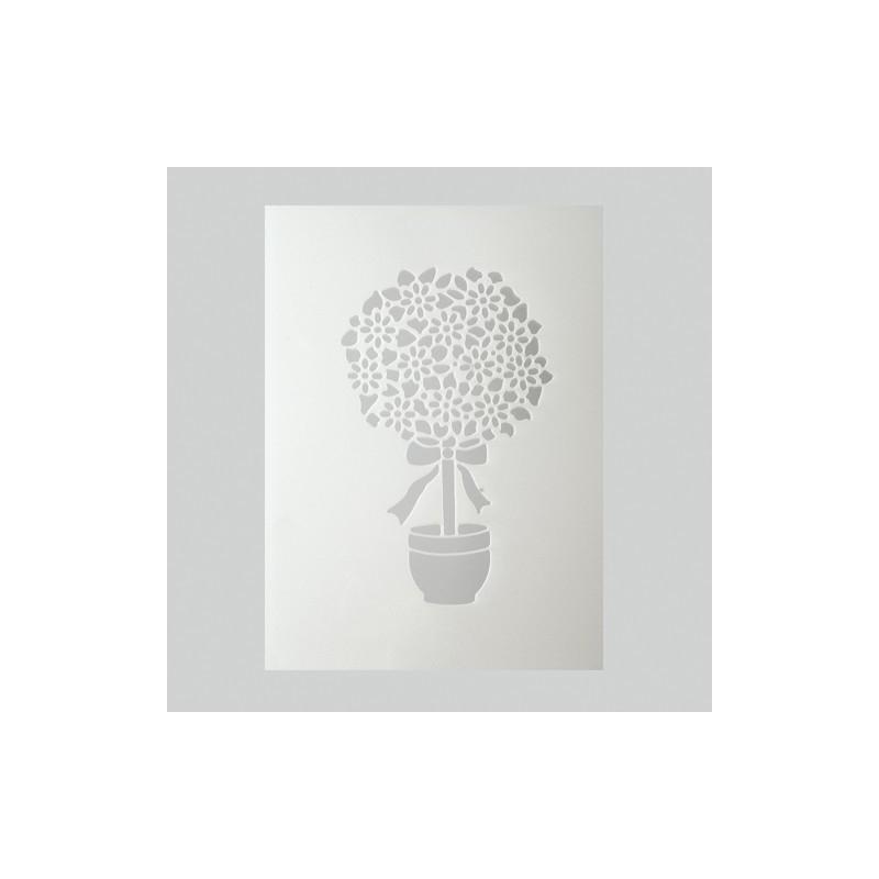 Pochoir arbre en fleur plastique blanc format a5 for Miroir en plastique