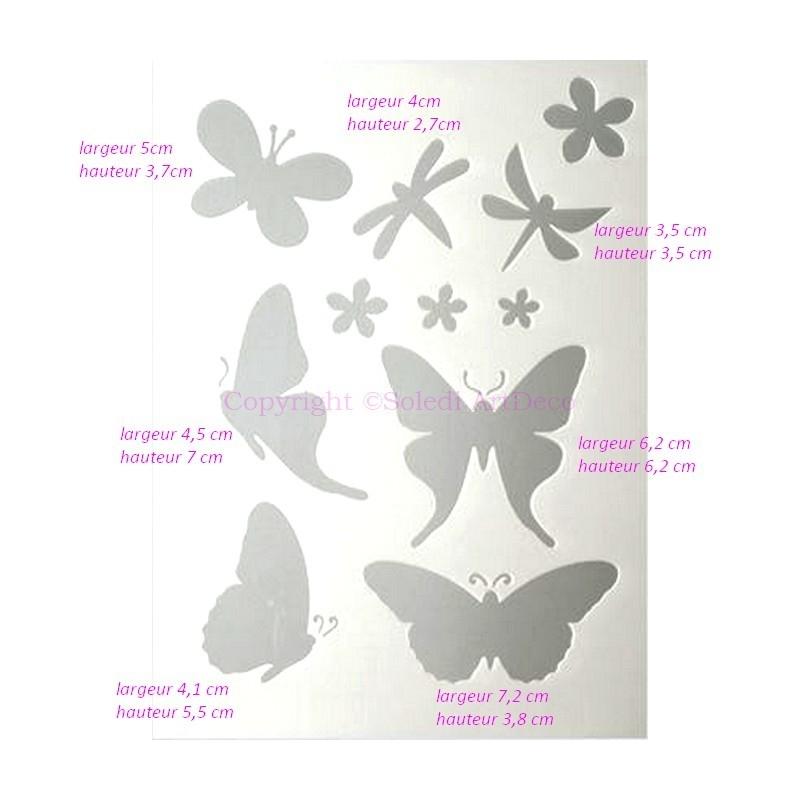 Pochoir plastique blanc 7 papillons de 3 5cm 7 2cm et 4 for Miroir en plastique