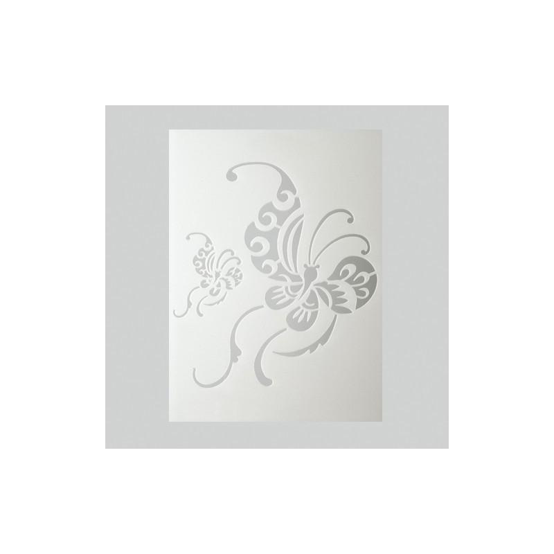 Pochoir 2 papillons chinois plastique blanc format a5 for Miroir en plastique
