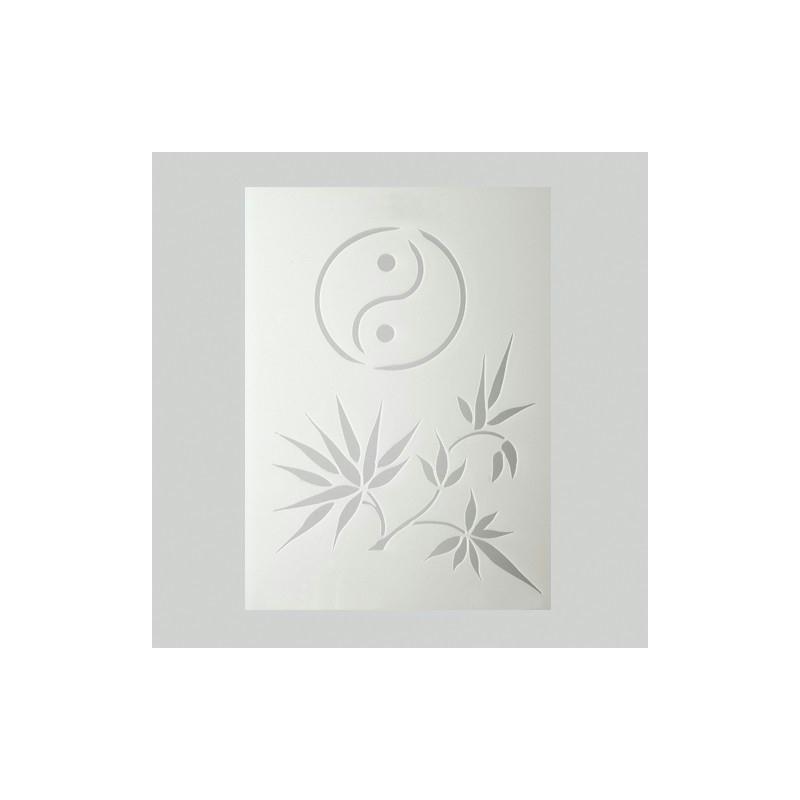 Pochoir feuilles de bambou et signe ying yang en for Miroir en plastique