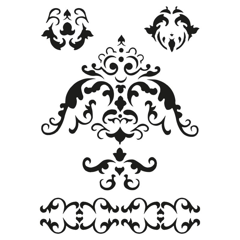 Pochoir 5 frises ornementales plastique blanc format a5 for Miroir en plastique