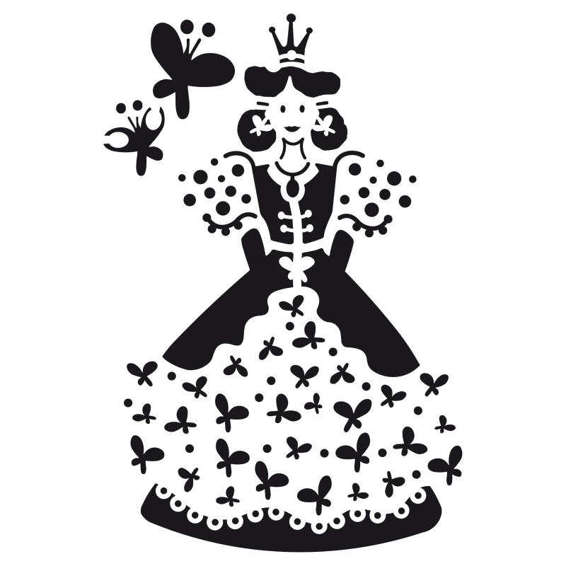 Pochoir petite princesse plastique blanc format a5 for Miroir en plastique