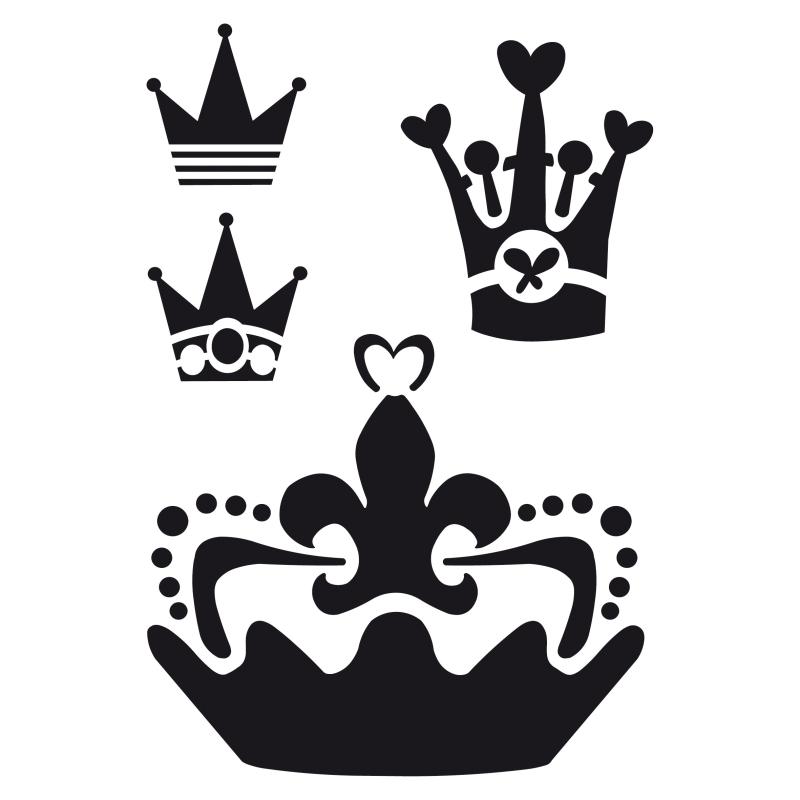 Pochoir 4 couronnes diff rentes plastique blanc format for Miroir en plastique