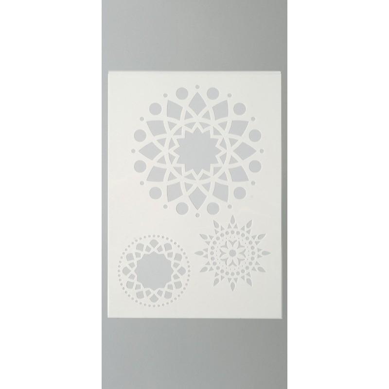 Pochoir en plastique de 3 motifs mandala planche a4 for Miroir en plastique
