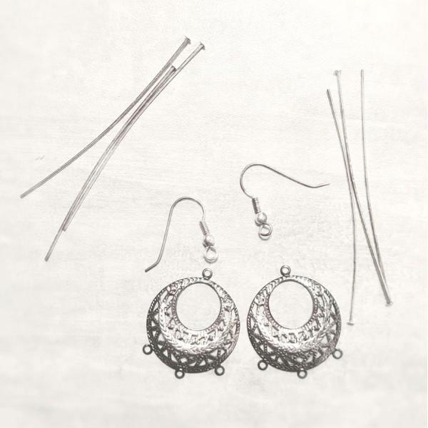 Boucles d'oreilles argenté avec pendeloques à 3 branches, 1 paire - Photo n°1