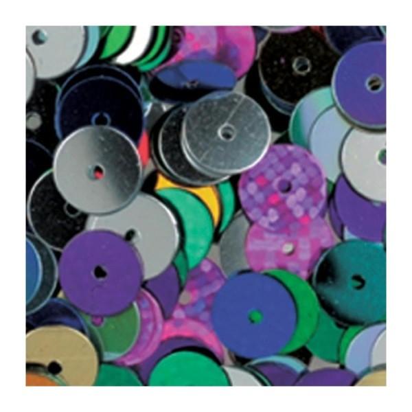 Lot d'env. 100.000 Paillettes rondes plates, ø 6 mm, 1 kilo de Sequins à coudre - Photo n°1