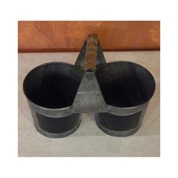 deux Pots en métal avec tableau noir et anse en bois, 22 cm - Photo n°2