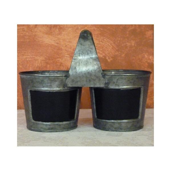 deux Pots en métal avec tableau noir et anse en bois, 22 cm - Photo n°1