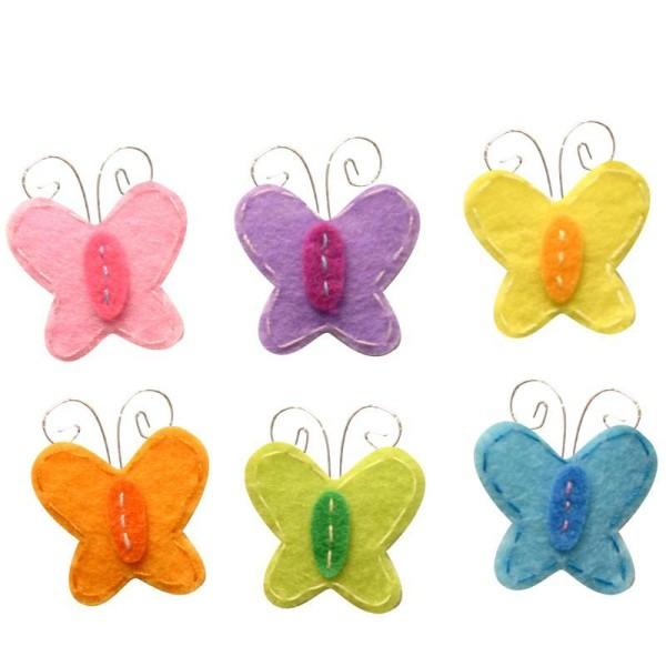Papillon brodée en feutrine adhésif 2.5 cm assortiment x6 - Photo n°1