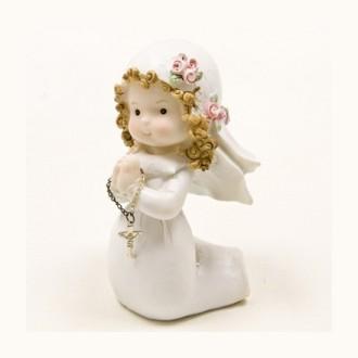Communiante ou Jeune Baptisée à genoux, Fillette en résine, hauteur 11 cm pour