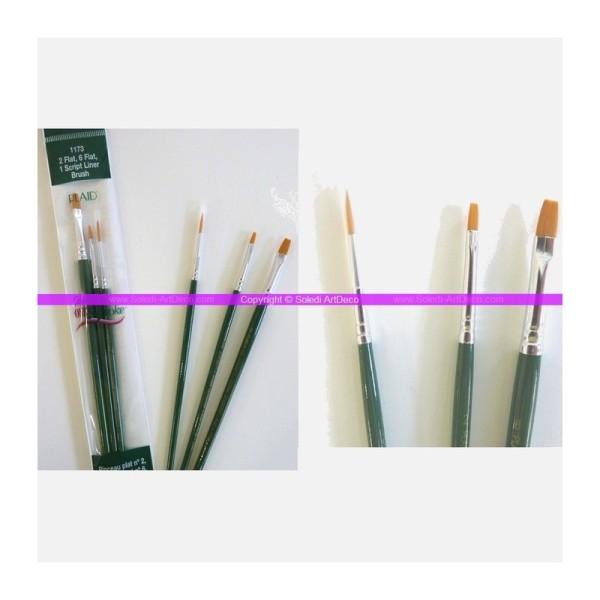 Set de 3 pinceaux : 2 Plats et 1 Script Liner en nylon or pour la technique One stroke de Donna Dewb - Photo n°1