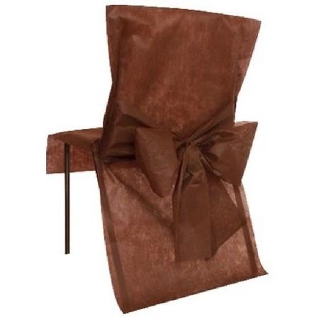 Housse de chaise mariage intissée avec noeud chocolat Lot de 10 - Chal